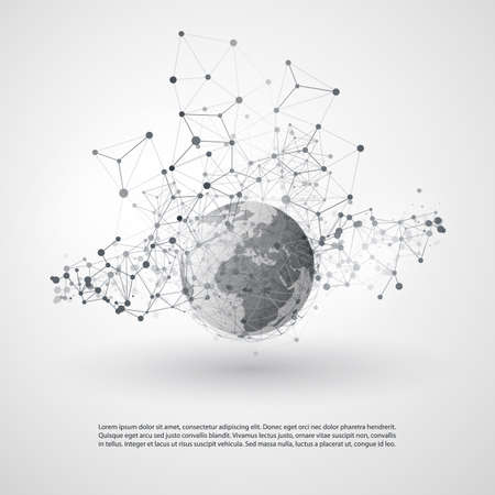Abstract Cloud Computing and Global Network Connections Concept Design with Transparent Geometric Mesh, Earth Globe