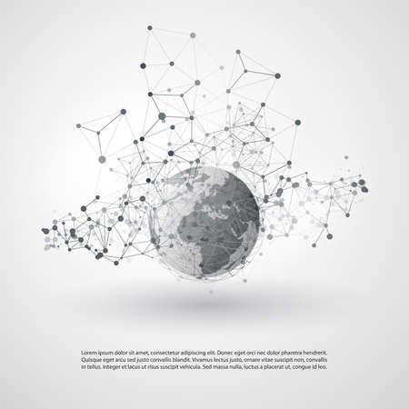 Résumé Cloud Computing et Global Network Design Concept Connexions avec maillage géométrique transparent, Globe de la Terre