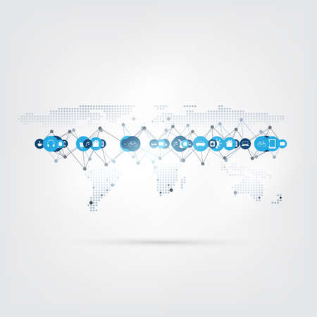 Internet of Things, Cloud Computing Design with Icons - Digital Network Connections, Technology Concept.