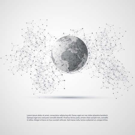 network connections: Abstract Cloud Computing and Global Network Connections Concept Design with Transparent Geometric Mesh, Earth Globe