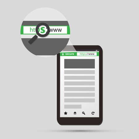 HTTPS Protocol - Safe Browsing, Secure Digital Communication on Mobile Phone and Tablet Illustration