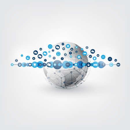 Internet of Things, Cloud Computing Design - Smart Devices, IoT, Digital Communication Concept. Ilustração