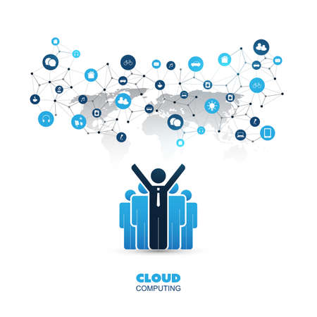 home: Cloud Computing, Internet of Things Design with Icons - Digital Network Communication, Business IT, Technology Concept