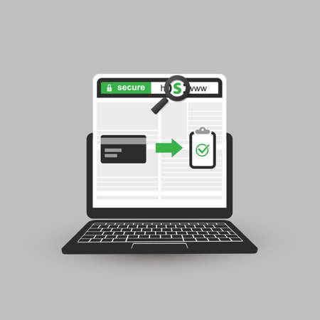 セキュリティで保護されたオンライン決済、HTTPS プロトコルの安全かつセキュリティで保護された通信、モバイル コンピューター上で閲覧