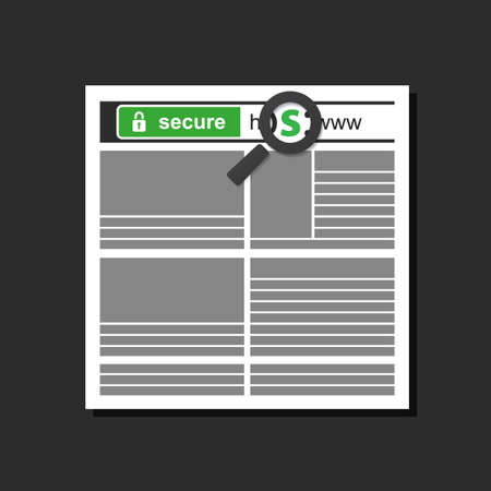 HTTPS Protocol in a Web Browser Window - Safe and Secure Digital Communication  イラスト・ベクター素材