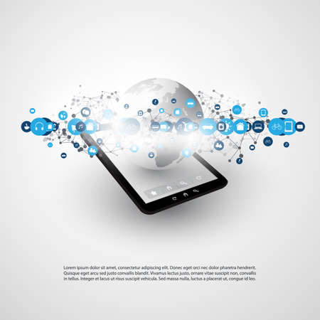 Internet of Things, Cloud Computing Design - Smart Devices, IoT, Digital Communication Concept