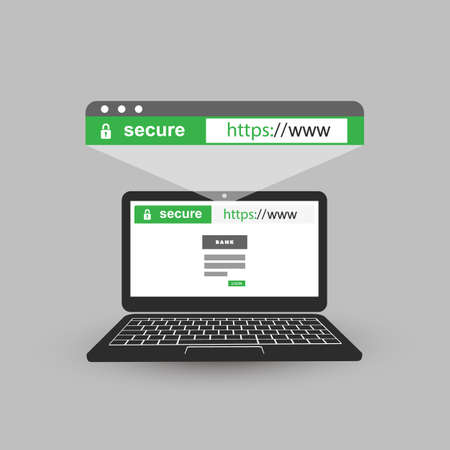HTTPS Protocol Indicated on Browser Address Bar - Safe Browsing and Online Communication on Mobile Computer Illustration