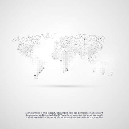 global communication: Networks Concept with World Map - Global Resources, Business Communication, Technology Template