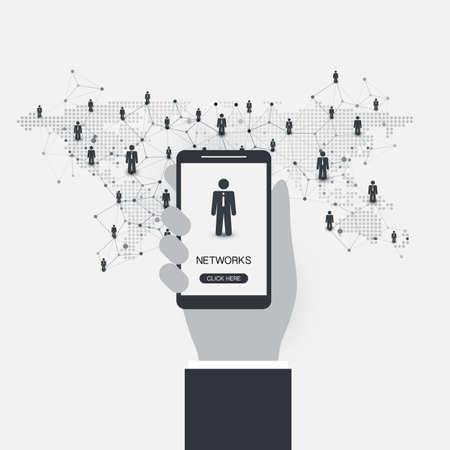 réseaux - connexions d & # 39 ; affaires - concept de technologie de médias sociaux de conception