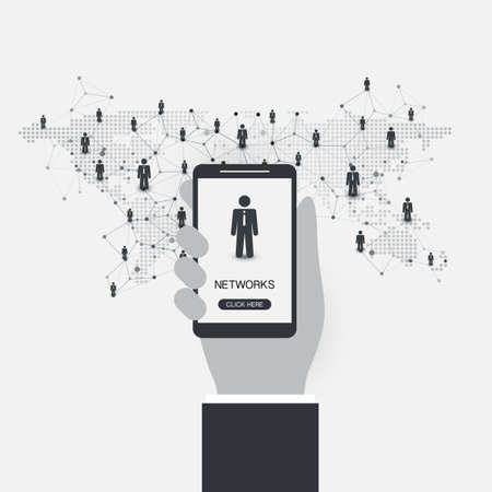 Networks - Business Connections - Social Media Communication Concept Design