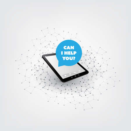 Can I Help You? - Artificial Intelligence, Audio Assistant, Smart Speech Driven User Interface Application, Digital Communication Concept Ilustração