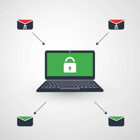 Laptop, Padlock and Envelope - Infection by E-mail Prevented Successfully - Virus, Malware, Ransomware, Fraud, Spam, Phishing, Email Scam, Hacker Attack - Threat Protection, IT Security Concept Design