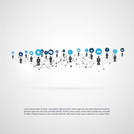 Networks - Connections - IoT, Smart Devices, Cloud Computing, Social Media Communication Concept Design Stock Illustratie