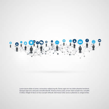 Networks - Connections - IoT, Smart Devices, Cloud Computing, Social Media Communication Concept Design Ilustrace