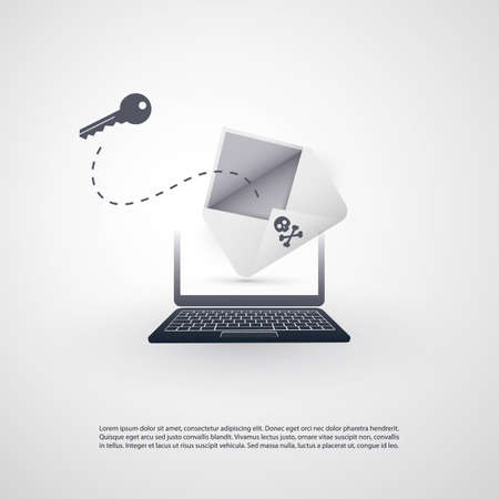 Laptop and Envelope - Backdoor Infection by E-mail - Virus, Malware, Ransomware, Fraud, Spam, Phishing, Email Scam, Hacker Attack - IT Security Concept Design