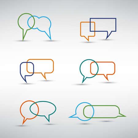 Colorful Speech Bubbles Design Set