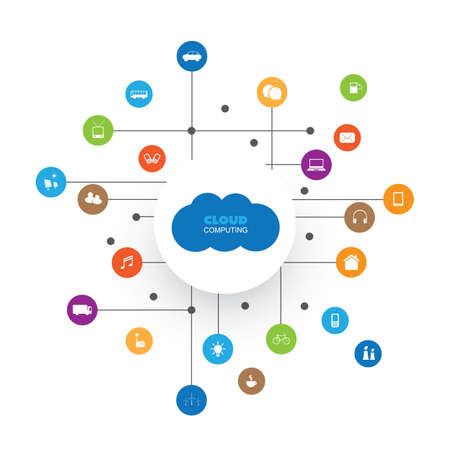 Cloud Computing, Network Communication Design Concept with Icons Representing Various Kinds of Smart Devices or IoT Services Illustration