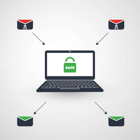 Laptop, hangslot en envelop - Infectie door e-mail met succes voorkomen - Virus, malware, ransomware, fraude, spam, phishing, e-mailscam, hackeraanval - bedreigingsbescherming, IT-beveiligingsconceptontwerp Vector Illustratie