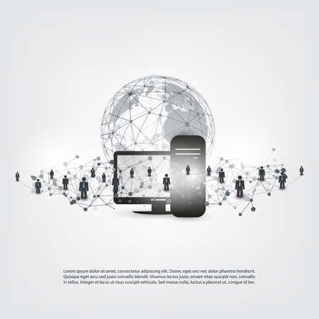 Netwerken - Abstract Cloud Computing en Global Business Communication, Social Network Connections Concept Ontwerp met Earth Globe en Server Computer
