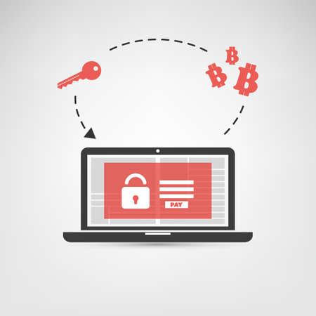 Vergrendeld apparaat, versleutelde bestanden, verloren documenten, wereldwijde Ransomware-aanval - Virusinfectie, malware, fraude, spam, phishing, e-mailscam, hacking - IT-beveiligingsconceptontwerp Stock Illustratie