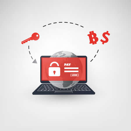detection: Locked Device, Encrypted Files, Lost Documents, Global Ransomware Attack - Virus Infection, Malware, Fraud, Spam, Phishing, Email Scam, Hacking - IT Security Concept Design