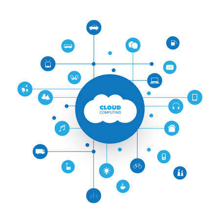remote server: Cloud Computing, Network Communication Design Concept with Icons Representing Various Kinds of Smart Devices or IoT Services Illustration