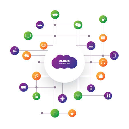 remote server: Cloud Computing Design Concept - Digital Network Communication, Smart Home, Technology Background