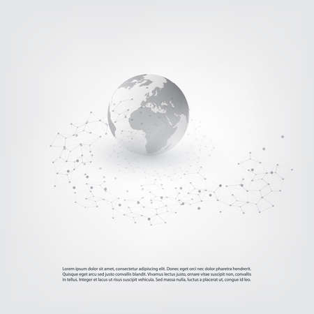 Cloud Computing and Global Network Communication Concept Design with Transparent Geometric Mesh Illustration