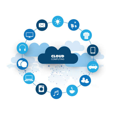 Cloud Computing, Networks Design Concept with Icons Representing Various Kinds of Digital Devices or IoT Services