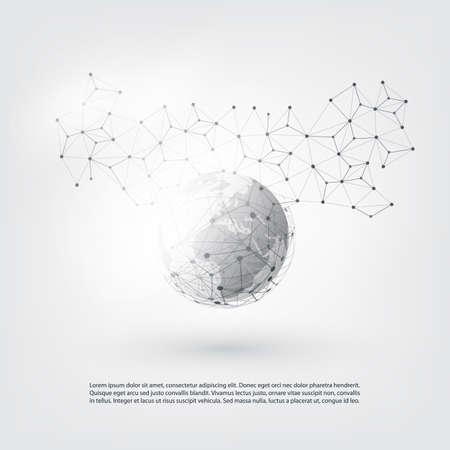 透明な幾何学的なメッシュと地球 - ベクトル イラスト モダンなスタイルのクラウド ・ コンピューティングとネットワーク接続と通信のコンセプト