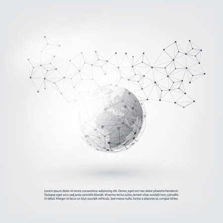 Transparent Geometric Mesh and Earth Globe - Vector Illustration of Modern Style Cloud Computing and Telecommunications Concept with Network Connections Design
