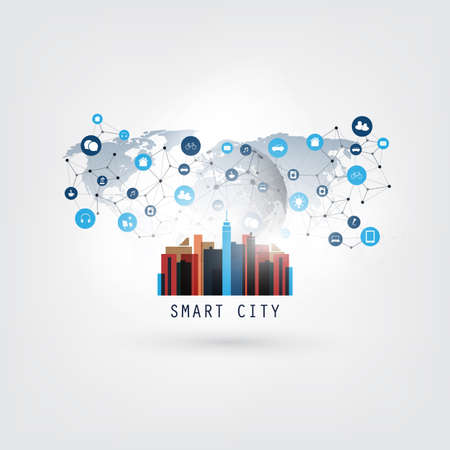 Colorful Smart City, Cloud Computing Design Concept with Icons - Digital Network Communication, Technology Background