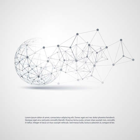 黒と白のモダンなミニマル スタイル クラウド ・ コンピューティング、ネットワーク通信、透明な幾何学的なワイヤ フレームと通信概念設計  イラスト・ベクター素材