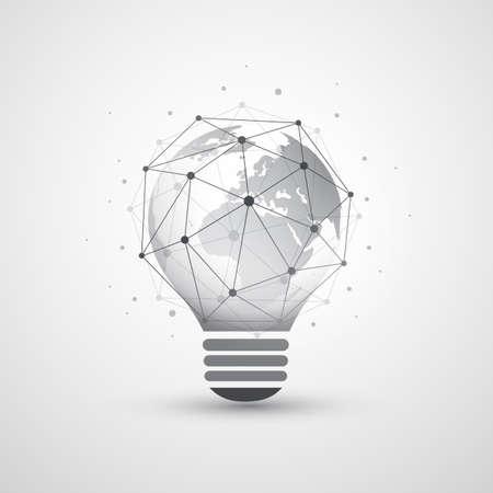 Abstract Electricité, Cloud Computing et Global Network Connections Concept Design avec Earth Globe À l'intérieur d'une ampoule, transparent Geometric Mesh