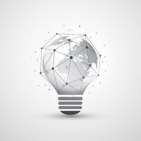 Abstract Electricity, Cloud Computing and Global Network Connections Concept Design with Earth Globe Inside of a Light Bulb, Transparent Geometric Mesh