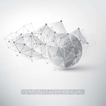 Cloud Computing and Networks Concept with World Map - Global Digital Network Connections, Technology Background, Creative Design Template with Transparent Geometric Grey Wire Mesh