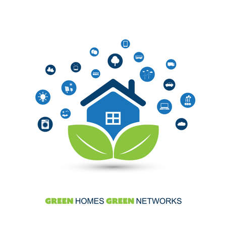 mesh: Global Warming, Eco Friendly Home, Smart Household Automation - Design Concept with Icons