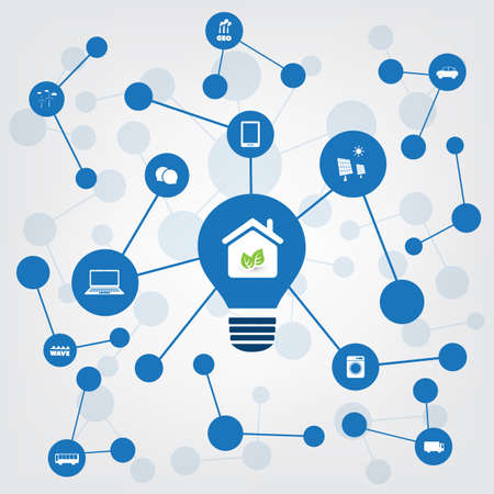wireless: Global Warming, Eco Friendly Home - Connections, Networks - Design Concept with Icons