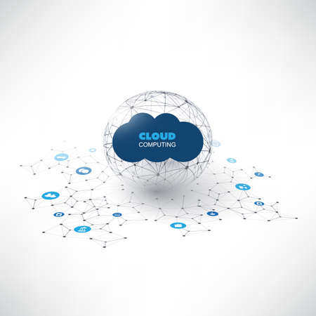 Cloud Computing Design Concept with Icons - Digital Network Communication, Smart Technology Background Çizim