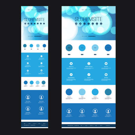 responsive: Responsive One Page Website Template Layout - Bubbles Header Design - Desktop and Mobile Version Illustration