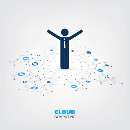 Cloud Computing Design Concept with Standing Business Man and Icons - Digital Network Connections, Technology Background