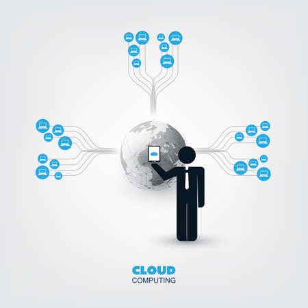 wireless icon: Cloud Computing, Business Network Design Concept with a Standing Businessman and Icons - Digital Network Connections, Technology Background