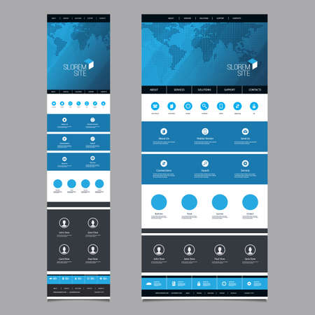 version: Responsive One Page Website Template - Header Design with World Map - Desktop and Mobile Version