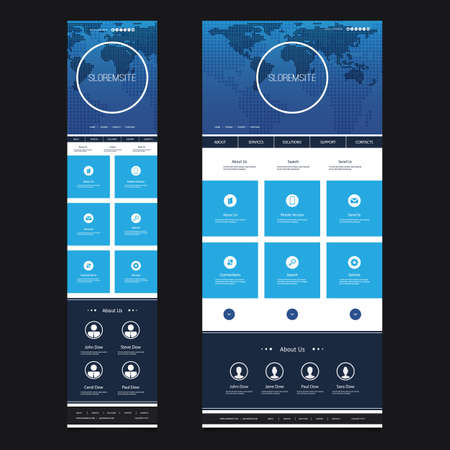 mobile app: Responsive One Page Website Template - Header Design with World Map - Desktop and Mobile Version