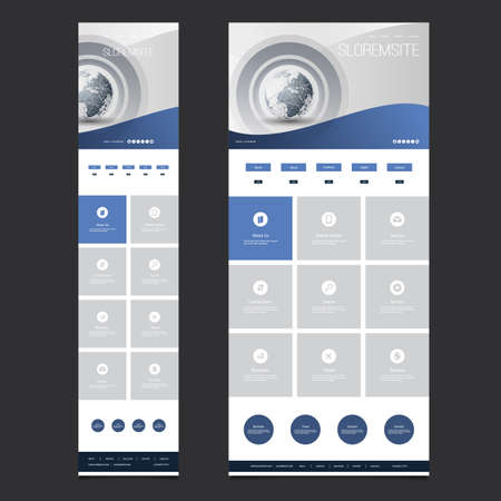 website header: Responsive One Page Website Template - Header Design with Earth Globe - Desktop and Mobile Version