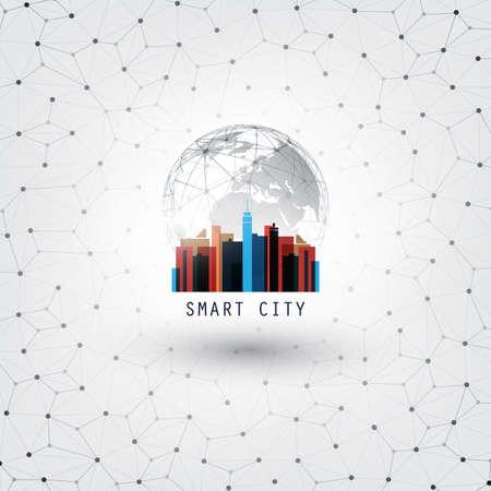 다채로운 스마트 시티, 사물, 네트워킹 또는 클라우드 컴퓨팅의 인터넷 디자인 컨셉 - 디지털 네트워크 연결, 기술 배경