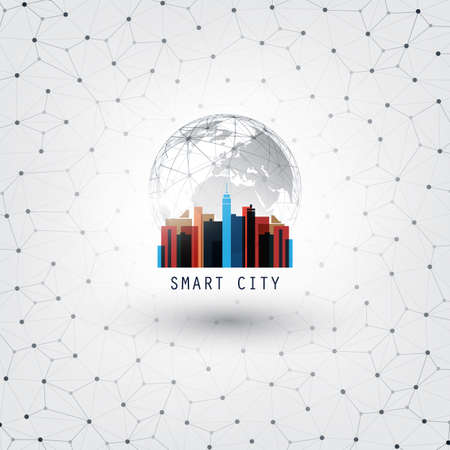 Colorful Smart City, Internet of Things, Networking or Cloud Computing Design Concept - Digital Network Connections, Technology Background