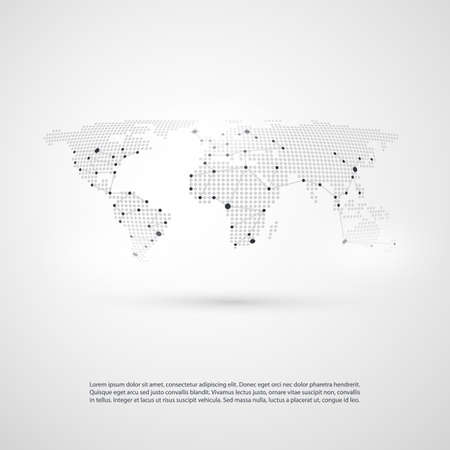 Cloud Computing and Networks with World Map - Abstract Global Digital Network Connections, Technology Concept Background, Creative Design Element Template with Geometric Grey Connections Pattern