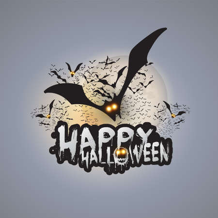 Happy Halloween Card Template - Flying Bats with Glowing Eyes Under Full Moon Illustration