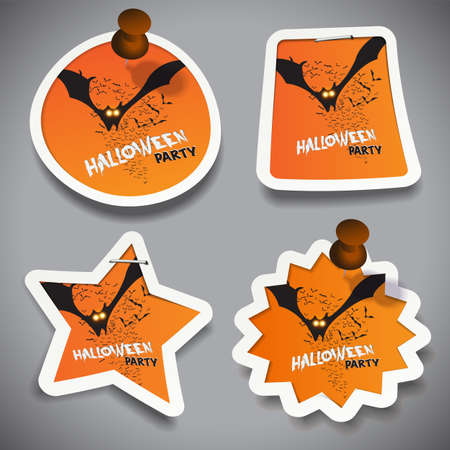 stapled: Set of Halloween Paper Cut Tags, Labels or Speech Bubbles with Flying Bats Illustration, Pinned to a Grey Surface Illustration